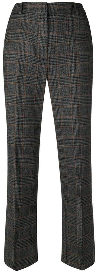 check print cropped trousers