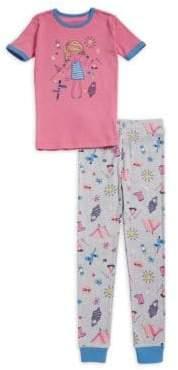 Petit Lem Little Girl's Two-Piece Summer Camp Pajama Set