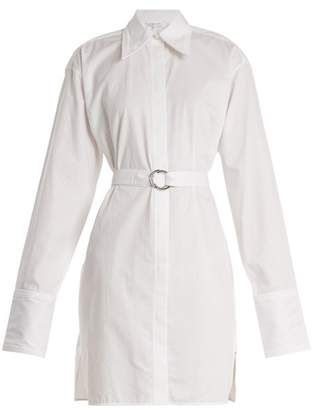 Helmut Lang Striped Tie Waist Cotton Shirtdress - Womens - White