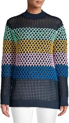 Tibi Multicolored Stripe Crochet Sweater