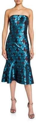 Aidan Mattox Strapless Floral Jacquard Flounce-Hem Dress
