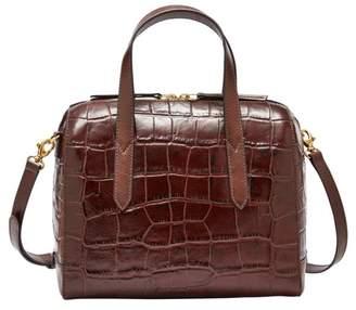 Fossil Sydney Satchel Handbag Brown Croco
