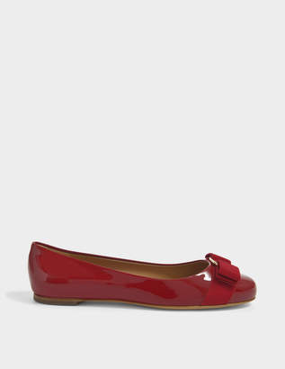 Salvatore Ferragamo Varina Patent Flat Shoes in Red Patent Leather