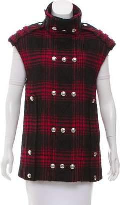 Alexander Wang Textured Plaid Wool-Blend Vest
