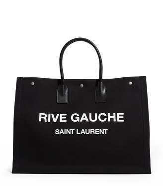 Saint Laurent Leather-Trimmed Linen Rive Gauche Tote Bag