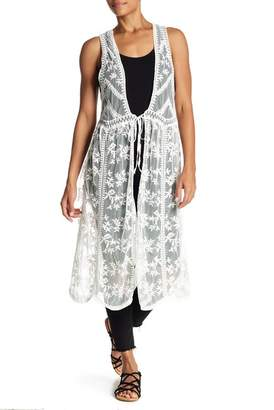 David & Young Embroidered Lace Vest