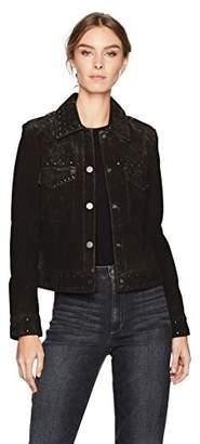 Bagatelle Women's Suede Studded Trucker Jacket