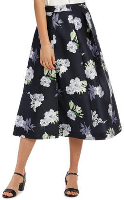 Spliced Midnight Floral Skirt