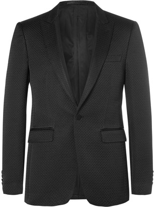 Burberry Black Slim-Fit Faille-Trimmed Cotton-Blend Tuxedo Jacket $2,395 thestylecure.com