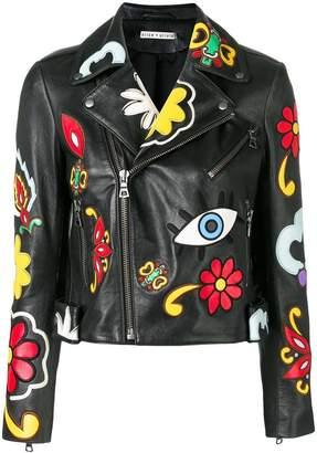 Alice + Olivia Alice+Olivia floral patch biker jacket