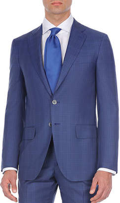 Isaia Double-Windowpane Two-Piece Wool Suit