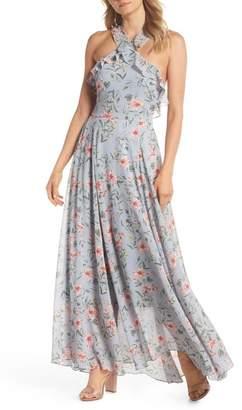 Gal Meets Glam Ella Floral Ruffle Chiffon Maxi Dress