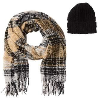 Steve Madden Heritage Plaid Blanket Wrap Scarf & Beanie Set