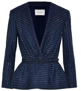 Belted Pinstriped Wool-Blend Twill Jacket