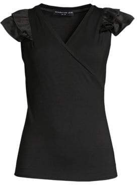 Generation Love Women's Alix Ruffle Faux Wrap Top - Black - Size Large
