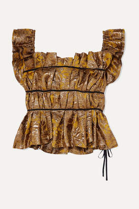 Brock Collection Grosgrain-trimmed Gathered Brocade Bustier Top - Gold