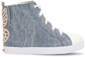 Sophia Webster Bibi Embroidered Denim High Top Sneakers