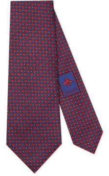 Gucci Bees and dots pattern silk tie