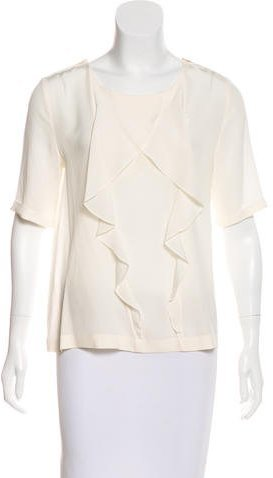 Fendi Ruffle Short Sleeve Blouse
