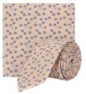 Burton Mens Ecru Floral Print Tie and Pocket Square Set