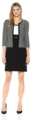 Sandra Darren Women's 2 Pc 3/4 Sleeve Printed Knit Sheath Dress with Jacket