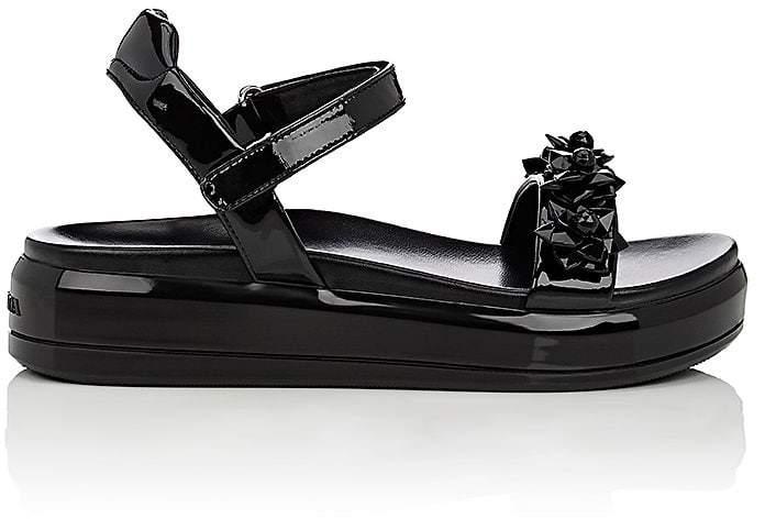 Prada Women's Flower-Embellished Patent Leather Platform Sandals
