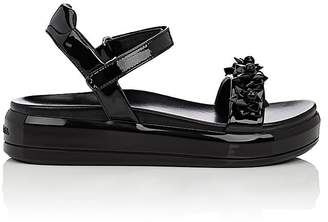 Prada Women's Flower-Embellished Patent Leather Platform Sandals $850 thestylecure.com