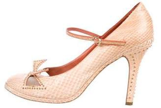 Marc Jacobs Snakeskin Round-Toe Pumps