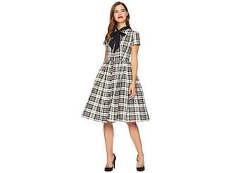 Unique Vintage 1950s Style Button Up Swing Dress