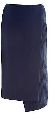 Fendi Women's Wool Crepe & Knit Wrap Pencil Skirt