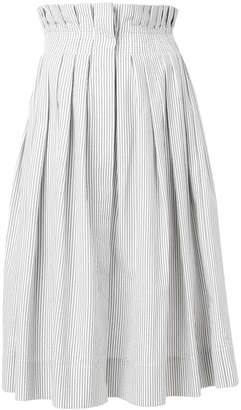 Thom Browne Gathered Waist Dirndl Skirt With French Fly In Seersucker