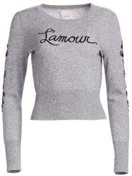 Cinq à Sept Kian L'Amour Embellished Wool-Blend Knit Sweater