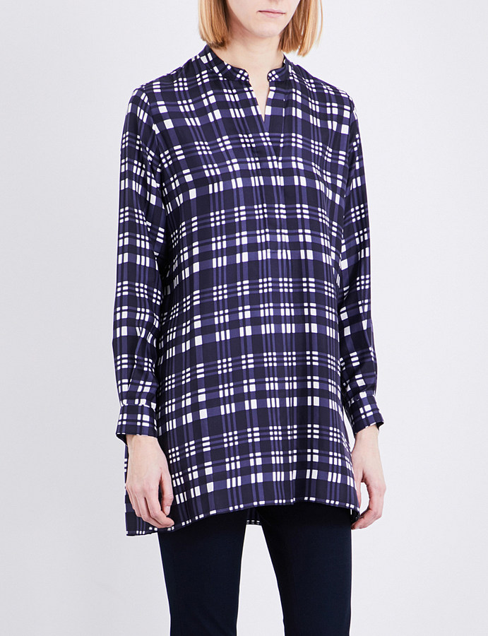 JOSEPHjoseph New Dara checked crepe de chine blouse