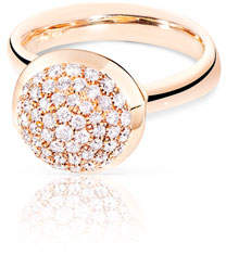 Tamara Comolli Bouton Large 18K Rose Gold Pave Diamond Dome Ring, Size 7/54