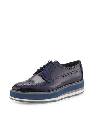 Prada Leather Platform Brogue Creeper, Blue $980 thestylecure.com