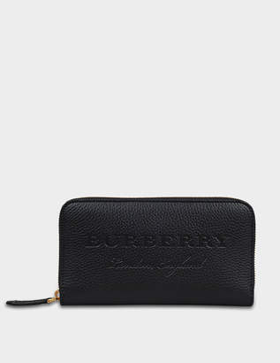 Burberry Soft Zip Around Wallet in Black Embossed Calfskin
