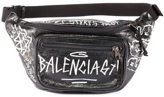 Balenciaga Graffiti-Print Leather Belt Bag