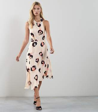 Reiss Roya Abstract Leopard Print Midi Dress