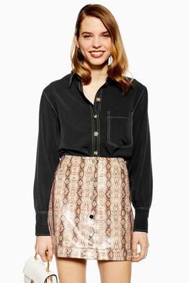Topshop Womens Topstitch Shirt - Washed Black