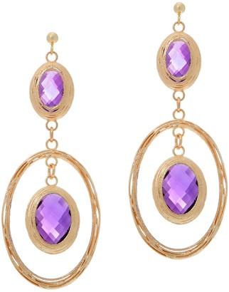 Arte D'oro Arte d'Oro 20.00 cttw Amethyst Oval Dangle Earrings, 18K