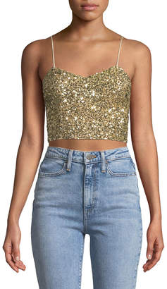 Alice + Olivia Archer Embellished Cropped Cami Top