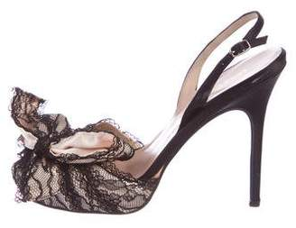 Bruno Frisoni Lace Slingback Pumps
