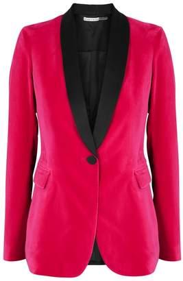 Alice + Olivia Macey Pink Velvet Blazer