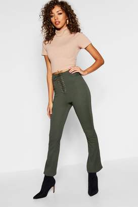 boohoo Lucy Lace Up Front Skinny Trousers