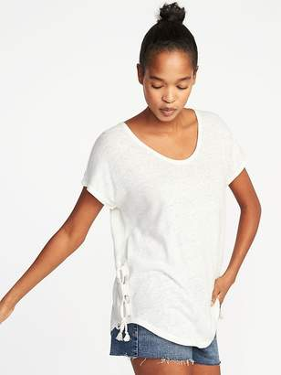 Old Navy Relaxed Side-Tie Linen-Blend Top for Women