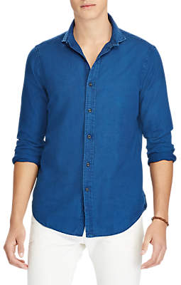 Ralph Lauren Polo Long Sleeve Poplin Dobby Shirt, Indigo Dobby