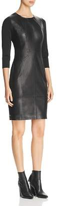 Elie Tahari Lesa Leather Panel Dress