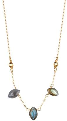 Chan Luu 18K Gold Plated Sterling SIlver Triple Labradorite Station Necklace
