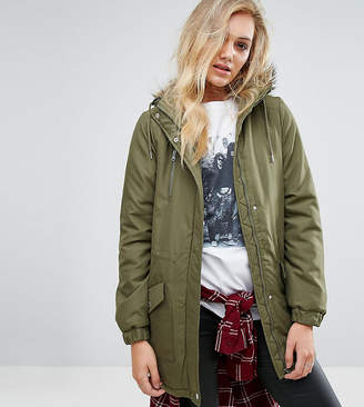 Noisy May Tall Parka Jacket With Faux Fur Trim Hood