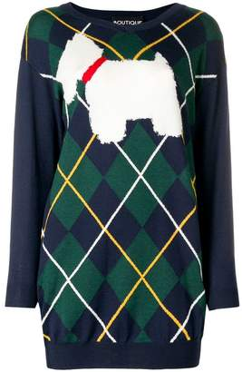 Moschino dog argyle sweater dress